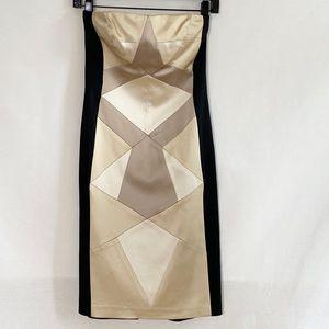 Cache color block strapless satin dress size 4
